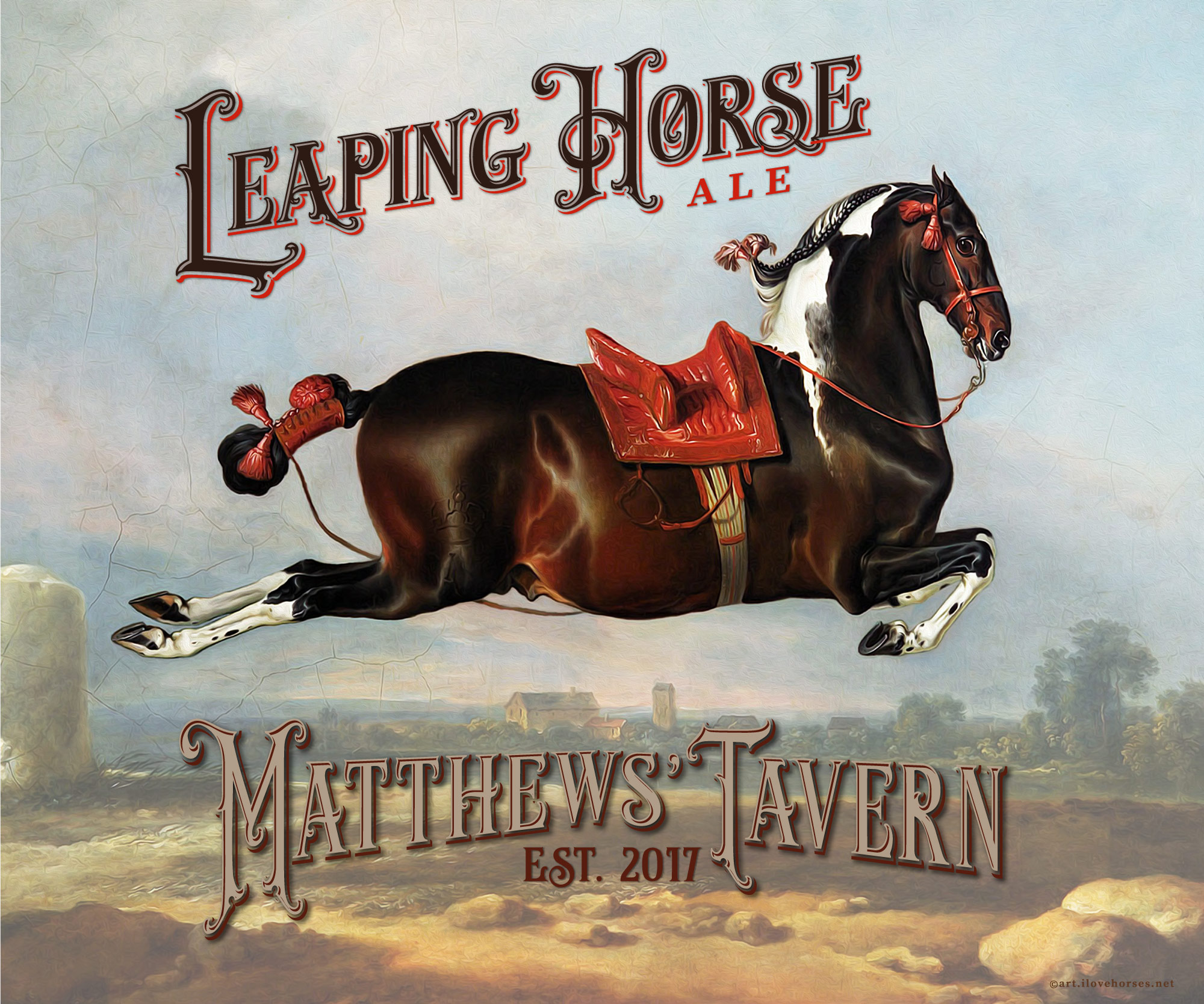 Custom Leaping Horse Metal Sign