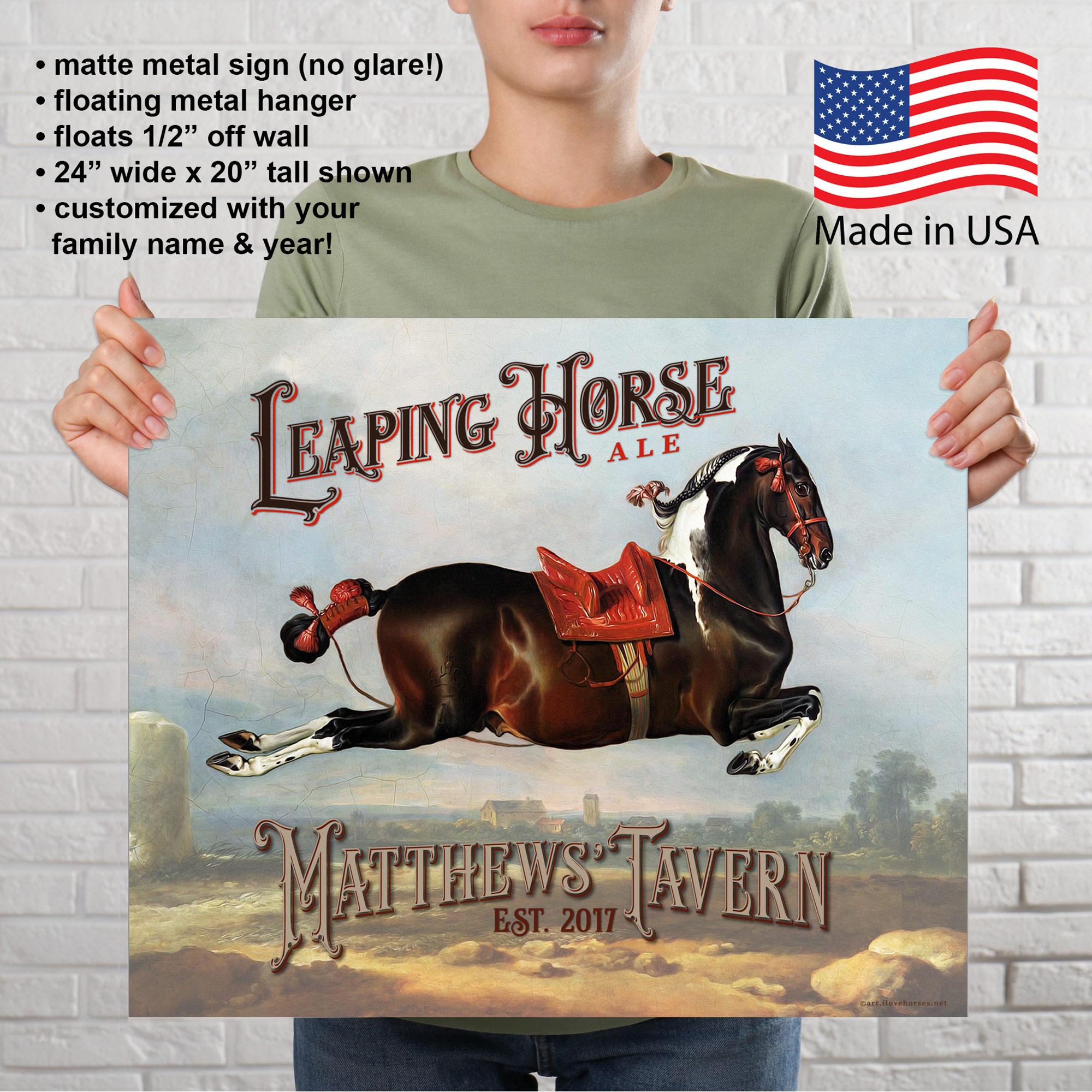 Custom Leaping Horse Metal Sign